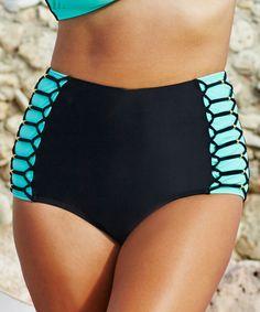96352d8812 Look at this #zulilyfind! Swim Sexy Black & Turquoise Shoreline Bikini  Bottoms - Women