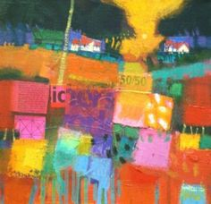 I really like this painting by Francis Boag. The bright vagrant colours that he has used makes this painting stand out a lot. This painting seems really flat by the way Boag has painted, and seems like ripped newspaper has been stuck on an painted over.