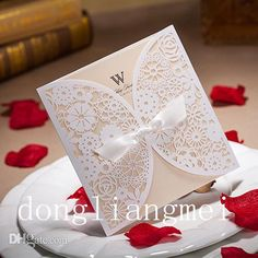 Chic White Flower Cut Out With Bow Free Personalized & Customized Printing Wedding Invitations Cards #z44 High End Wedding Invitations Humorous Wedding Invitations From Dongliangmei, $98.85| Dhgate.Com