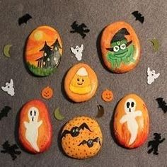halloween painted rocks - Yahoo Image Search Results
