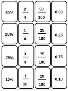 459 Printable Cards covering fractions, decimals, percentages, times tables etc. Great resource to print and laminate for math stations. Teaching Fractions, Math Fractions, Teaching Math, Dividing Fractions, Equivalent Fractions, Multiplication Tricks, Math For Kids, Fun Math, Math Charts