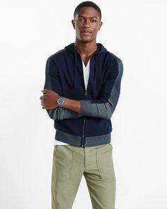 plaited zip front hoodie
