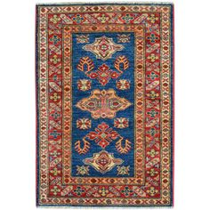 Hand-knotted Tribal Design Super Kazak Oriental Rug Wool Area Rug (1'9 x 3') - Overstock™ Shopping - Great Deals on One Of A Kind Rugs