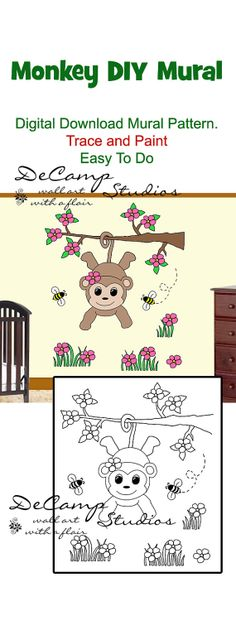 Diy jungle elephant wall art mural pattern printable digital diy do it yourself monkey wall art mural for baby girl nursery or kids room solutioingenieria Gallery