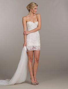 Ivory Alencon lace bridal mini dress, strapless sweetheart bodice, softly gathered net overskirt and chapel train Bridal Gowns, Wedding Dresses by Tara Keely - JLM Couture - Bridal Style tk2502 by JLM Couture, Inc.