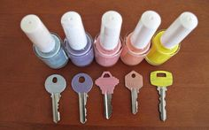 Paint Your Keys with Nail Polish to Easily Distinguish the Sets - 20 Life Hacks Every Girl Needs to Know