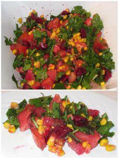 Salada de beterraba, nabo, tomate, rúcula e milho - http://www.mytaste.pt/r/salada-de-beterraba--nabo--tomate--r%C3%BAcula-e-milho-4801419.html