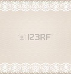 Wedding, invitation or greeting card with lace floral border on net background