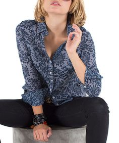 Look at this Indigo Indo Floral Button-Up - Women by Cino Floral Print Shirt, Floral Prints, Indigo, Hippy Fashion, Floral Button Up, Country Girls, Skater Dress, Glamour, My Style