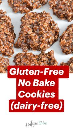 Dairy Free No Bake Cookies, Oatmeal No Bake Cookies, Healthy No Bake Cookies, Chocolate Oatmeal Cookies, Gluten Free Treats, Gluten Free Desserts, Dairy Free Recipes, Fun Baking Recipes, Healthy Baking