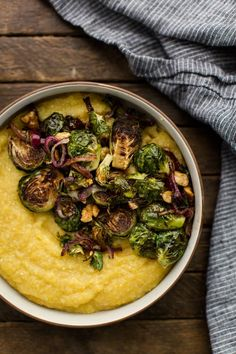 Creamy polenta topped with balsamic roasted Brussels sprouts and onions that have been tossed with a toasted walnuts. Gluten-free and can easily be vegan. Healthy Meal Prep, Healthy Dinner Recipes, Whole Food Recipes, Vegetarian Recipes, Cooking Recipes, Vegan Polenta Recipes, Healthy Fats, Vegetable Recipes, Healthy Choices