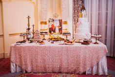 Reception Dessert Table Wedding Cake Opulent Pink Gold Victorian Wedding in Seattle http://www.barrieannephotography.com/