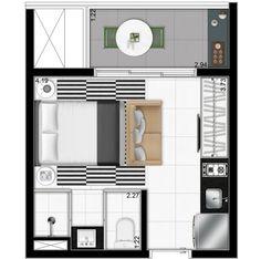Graziella Valenti (Valor, 30/09/13) informa que a planta acima é de um apartamento compacto da Vitacon, na Vila Olímpia, que contará com mobiliário funcional e minimalista assinado pelo americano G…