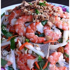 Vietnamese lotus root salad with shrimp/prawn ummmm yall aint noin