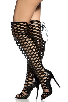 1fd8b76dd1f Black Faux Leather Cut Out Thigh High Gladiator Heels   Cicihot Heel Shoes  online store sales Stiletto Heel Shoes