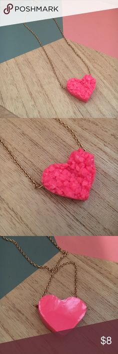 Forever 21 hot pink rock candy heart necklace Forever 21 hot pink rock candy heart necklace Forever 21 Jewelry Necklaces
