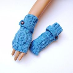 Informations About Handknitted Blue Gloves, Winter Gloves, Women Gloves, Knitting Blue Mitten, Knitt Knitted Gloves, Fingerless Gloves, Blue Mittens, Blue Gloves, Buy Clothes Online, Unique Gifts For Women, Pretty And Cute, Hand Warmers, Hand Knitting
