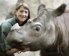 Sumatran rhino, Suci, with Terri Roth. Photo by: Photo by Michael E. Keating.