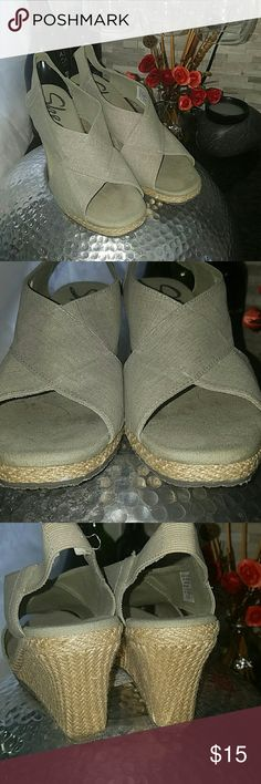 """Twine wedge heels Skechers brand twine wedge heels. Taupe color with subtle glitter accent. Heel hight 3"""". These were worn very few times and show very few signs of wear shown in photos. Skechers Shoes Wedges"""