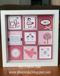 My sister in law first showed me these types of shadow box frames, and I absolutely love it! We did a class before Christmas and made THIS . Love Valentines, Valentine Crafts, Valentine Day Cards, Valentines Frames, Valentine Theme, Box Frame Art, Shadow Box Frames, Collage Frames, Frame Crafts