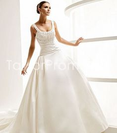 Charming A-line/Pricess Scoop Chapel Train Casual Wedding Dresses