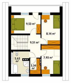 Mały, ekonomiczny dom jednorodzinny z poddaszem użytkowym zaprojektowany z myślą o usytuowaniu go na wąskiej działce. Na parterze zlokalizowano kuchnię z jadalnią, salon, dodatkowy pokój pełniący funkcję gabinetu, łazienkę oraz kotłownię. Na poddaszu znajdują się trzy wygodne sypialnie, łazienka oraz niewielka garderoba. Dzięki prostej bryle oraz niewielkim gabarytom dom będzie niedrogi w wykonaniu oraz późniejszej eksploatacji.