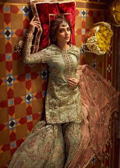 "Have an exclusive glimpse at Mohsin Naveed Ranjhna's modish collection ""Ghar Nari"" featured by Maya Ali. Nikkah Dress, Shadi Dresses, Pakistani Formal Dresses, Pakistani Dress Design, Pakistani Mehndi Dress, Pakistani Gharara, Pakistani Actress, Sharara, Anarkali"