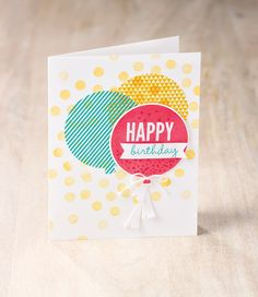 Use the Birthday Bash designer washi sheets along with the Celebrate Today stamp set and Balloon Framelits to make your loved ones amazing birthday cards like this one.