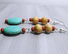 Howlite Turquoise Drop Earrings, Wooden Boho Dangle Earrings, Boho Jewelry, Wooden Earrings, Turquoise and wooden earrings, nature jewelry