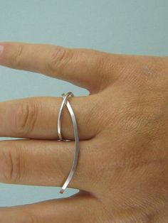 Sterling Silver Two Finger Ring. Sterling Silver Double Finger Ring. Simple, Modern Contemporary. Handmade Jewelry by ZaZing