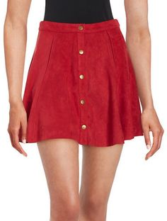Design Lab Lord & Taylor Snap-Button Faux Suede Skirt