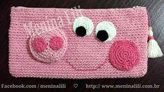 Necessarie em Crochê Peppa Pig - Estojo escolar / Clutch