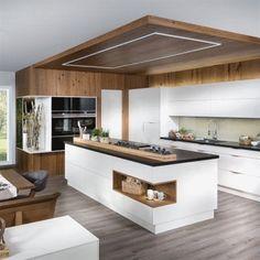 Modern Kitchen Island, Modern Farmhouse Kitchens, Farmhouse Style Kitchen, Cool Kitchens, Kitchen Islands, Minimal Kitchen, Rustic Kitchen, Farmhouse Sinks, Modern Kitchens With Islands