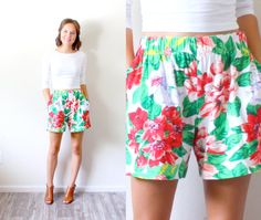 Vintage high waist floral shorts // rainbow by BeigeVintageCo