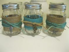 3  Beach Theme Turquoise Burlap, with Sea metal accents Mason jars, wedding candles, vases, wedding centerpieces, Shabby Chic