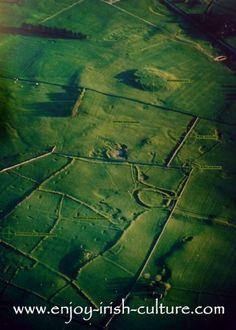 IRISH HERITAGE SITES, culture, info: Aerial photo of Rathcroghan Royal site, County Roscommon, Ireland.