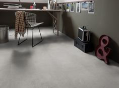 Do you dream of an ultra trendy concrete floor but have a tight budget and Sol Pvc, Pvc Vinyl, Concrete Floors, Vinyl Flooring, Corner Desk, Sweet Home, Loft, Inspiration, Furniture