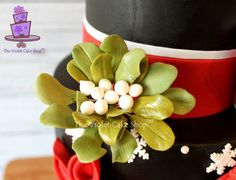CHRISTMAS Cardinal, Stylized Poinsettia & Sugar Mistletoe Cake - The Violet Cake Shop - Cake by Violet - The Violet Cake Shop - CakesDecor