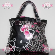 Bolsa Tote Loungefly Color Negro Con Moños Hello Kitty