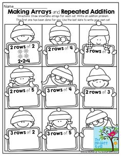 Making Arrays and Repeated Addition- Draw snowflake arrays for each set and write an addition problem to match. TONS of great activities to help teach core concepts! Teaching Multiplication, Teaching Math, Teaching Ideas, Math For Kids, Fun Math, Math Resources, Math Activities, Math Worksheets, Repeated Addition Worksheets