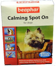 Beaphar Calming Spot on for Dogs £5.99 Beaphar Calming Spot On for Dogs can help alleviate problems such as excessive barking, destructive behaviour and inappropriate marking. These products can also help dogs and cats feel less apprehensive during difficult times including visits to the vet or kennels/cattery, fireworks, thunderstorms, travelling in the car or moving house.