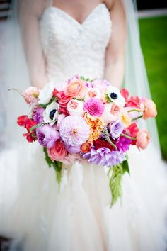 Colorful bridal bouquet.