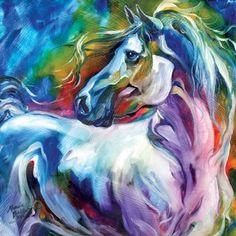 "Mystic Power Horse Canvas Wall Art From The Artist Marcia Baldwin  Canvas Is 15"" X 15""   #CanvasArt #MarciaBaldwin #Horse #WallArt"