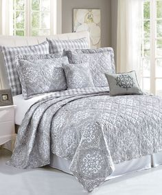 Melody Quilted 7 Piece Bed Spread Set - The Melody Spread set comes with everything you need for a good clean traditional bed decor in gray's while having a super soft and warm bed spread that will keep a bodies comfortable all night. #HomeSoftThings #HST #Blankets #BedSpreads #BedSet
