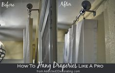 How to hang draperies like a pro. For those of you who aren't familiar with this simple trick used by the pros...what a difference it can make in the appearance of your draperies.