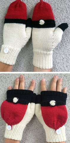Knitting Pattern Pokeball Fliptop Mittens - Perfect for hunting pokémons in cooler weather. These mittens have a flap that you can easily flip open to use your phone or close to keep your hands warm. Great for Pokemon Go! Mittens Pattern, Knit Mittens, Knitted Gloves, Loom Knitting, Free Knitting, Knitting Patterns, Crochet Patterns, Pokemon, Knitting Projects