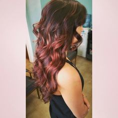 Brown to red ombre highlights