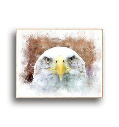 Bald Eagle Print, American Eagle,Digital watercolor, Wall Art Poster, Printable Digital Download, Hawke, Boys Room Decor, Bird Animal Eagle Print, Boys Room Decor, Printable Wall Art, Bald Eagle, Printables, Birds, Watercolor, American, Digital