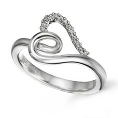 .05ctw Diamond Heart Sterling Silver Ring