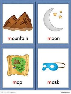 Letter M Words and Pictures Printable Cards: Mountain, Moon, Map, Mask (Color) Letter Flashcards, Flashcards For Kids, Alphabet Worksheets, Nursery Worksheets, Picture Letters, Picture Cards, Kindergarten Reading Activities, Literacy, Teaching Reading